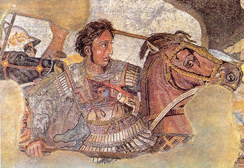 Detail of a mosaic depicting the Battle of Issus, from Pompeii