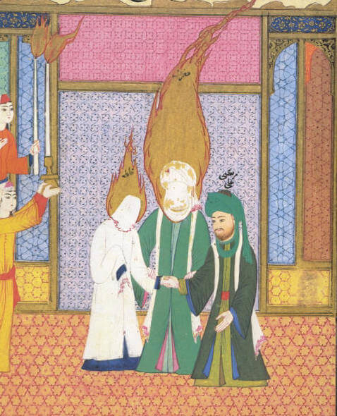16th-century depiction of Ali (on the right) receiving Fatima from her father Muhammad