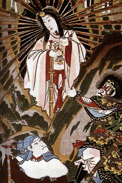 Amaterasu emerging from a cave, a detail from a work by Utagawa Kunisada (1857)