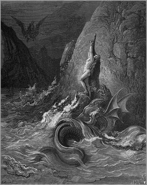Angelica threatened by the sea monster in Dore's 1877 depiction of a scene from Orlando Furioso