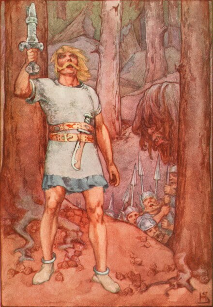 Depiction of Beowulf from a 1915 book of mythology
