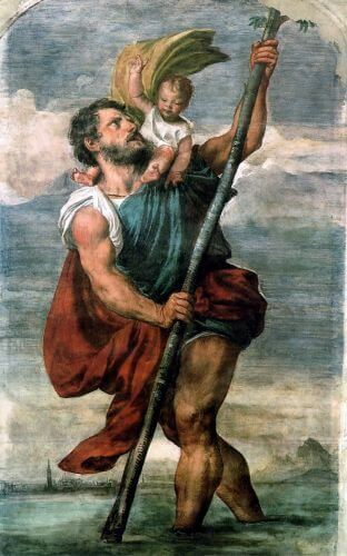 Depiction of Saint Christopher by Titian