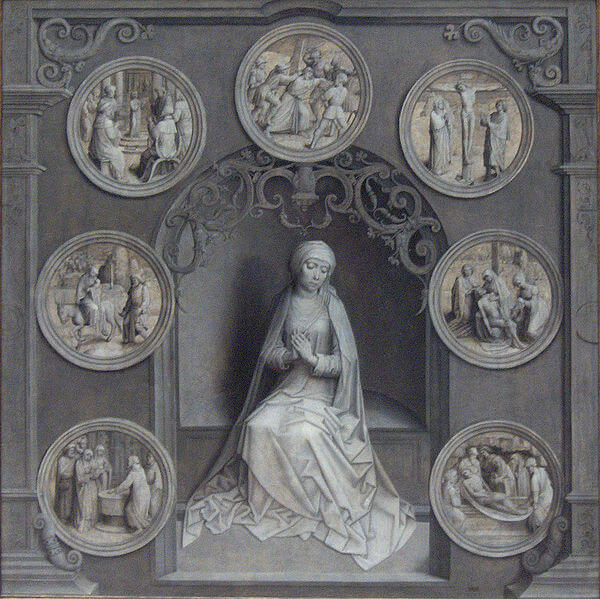 Depiction of Mary surrounded by the Seven Sorrows by Adriaen Isenbrandt (1518)