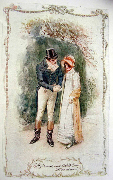 Emma Woodhouse and Mr. Knightley in an illustration from Jane Austen's Emma