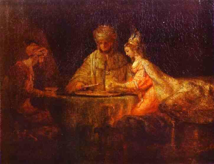 Ahasuerus and Haman at the Feast of Esther by Rembrandt (1660)