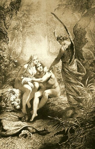 Depiction of Adam and Eve by Mihály Zichy (1861)
