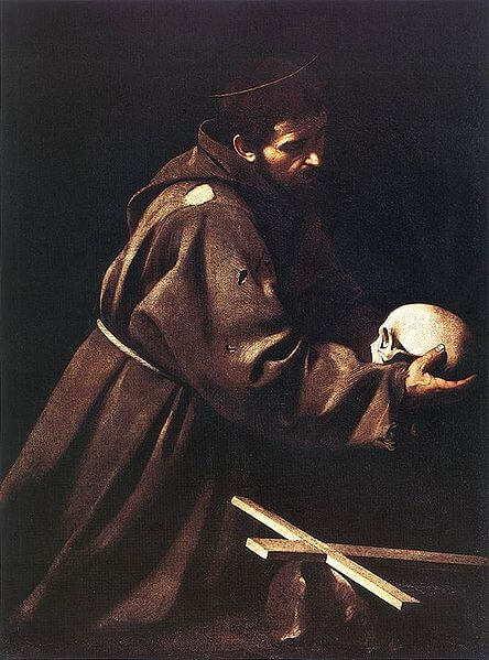 Saint Francis in Prayer by Caravaggio (1610)