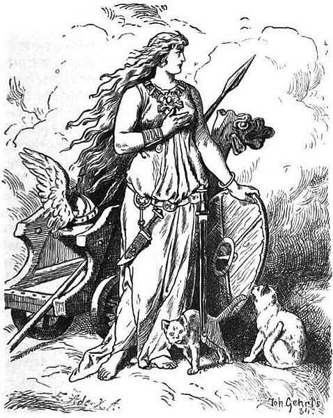 Depiction of the goddess Freya by Johannes Gehrts (1901)