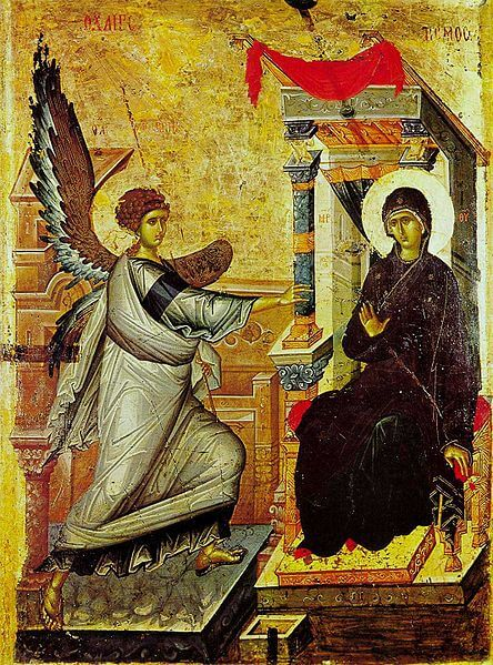 Icon depicting the Annunciation, with Archangel Gabriel on the left