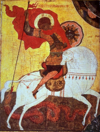 Icon depicting Saint George and the dragon