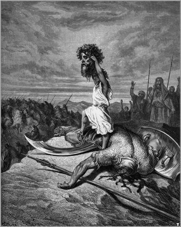 David defeats Goliath, by Gustave Doré (1866)