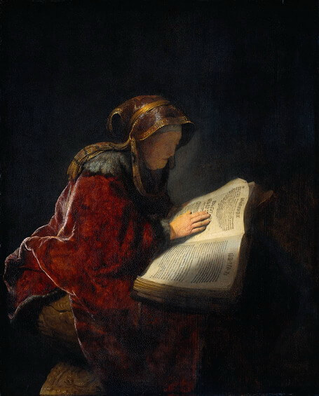 Depiction of the biblical Hannah (the mother of Samuel) by Rembrandt (1631)