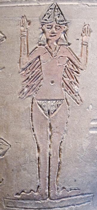 Inanna depicted on an ancient vase