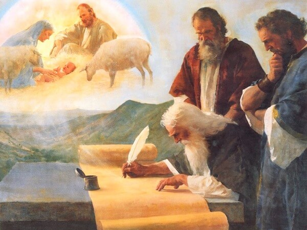 The prophet Isaiah writing of Christ's birth, by Harry Anderson
