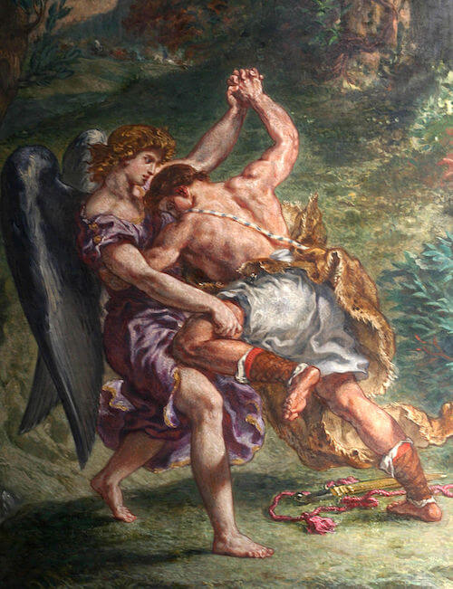 Jacob wrestling the angel, in a detail from a fresco by Eugène Delacroix (1861)