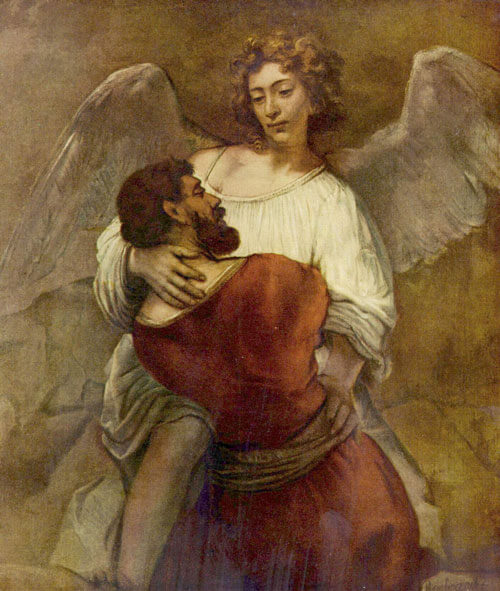Jacob Wrestling with the Angel (1659), by Rembrandt