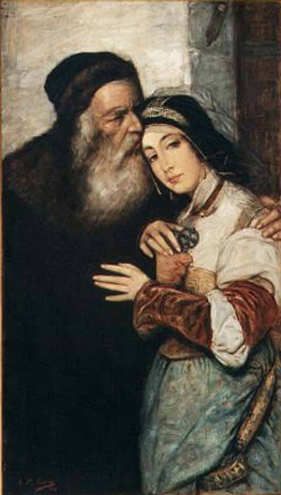 Shylock and Jessica (1876) by Maurycy Gottlieb, an image from The Merchant of Venice