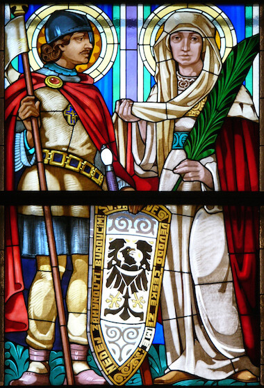 Saint Ludmila with Saint Václav in stained glass from the Czech Republic