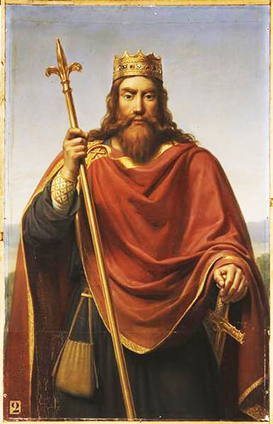 Clovis (Ludwig), king of the Franks in a painting by Dejuinne (1835)