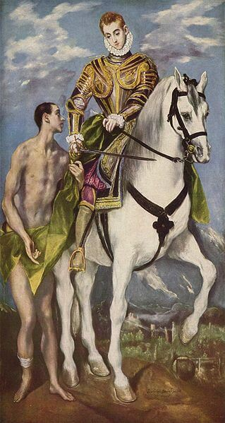 Depiction of Saint Martin splitting his cloak by El Greco (1599)
