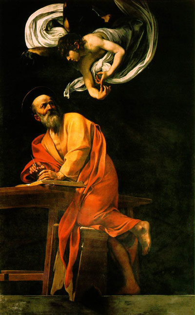 The Inspiration of Saint Matthew (1602), by Caravaggio