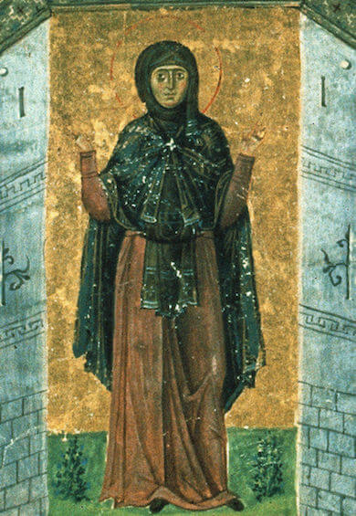 Saint Melania the Younger from a 10th-century miniature