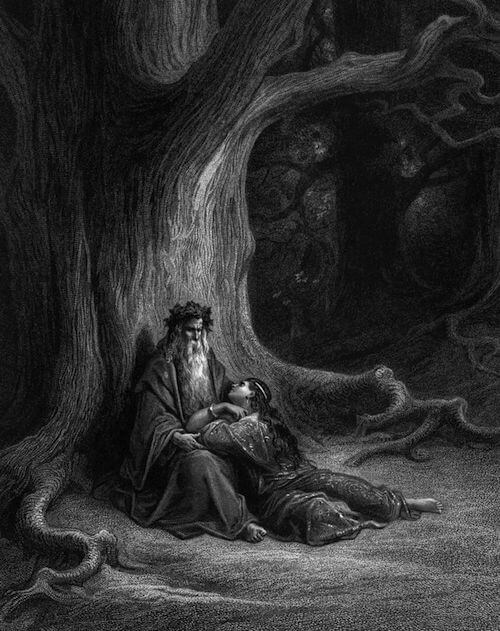 Depiction of Merlin and Vivien by Gustave Doré (1875)