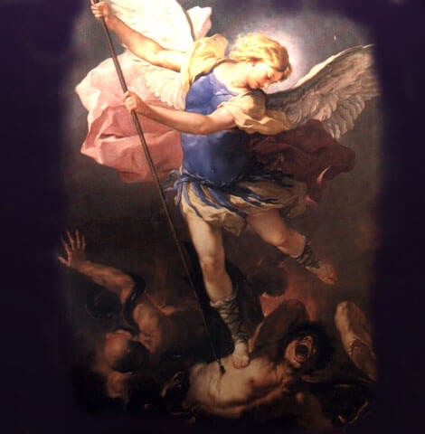 Saint Michael the Archangel fighting Satan, painting by Luca Giordano (1663)