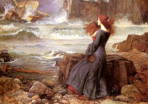 Miranda in an image by John William Waterhouse (1916), based on Shakespeare's play The Tempest