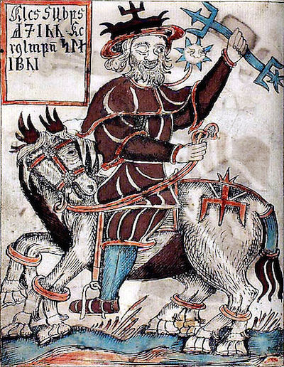 Depiction of Odin from an 18th-century Icelandic manuscript