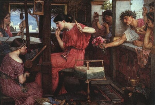 Penelope and the Suitors by John William Waterhouse (1912)