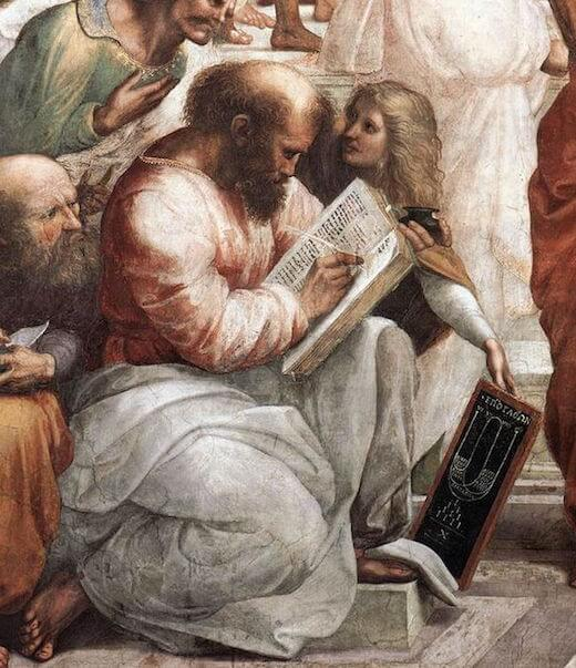 Detail showing Pythagoras from The School of Athens by Raphael (1508)