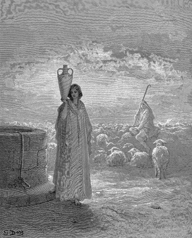 Rachel being watched Jacob in an image by Gustave Doré (1866)