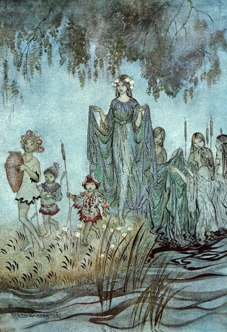 Sabrina rises, attended by water nymphs by Arthur Rackham (1921) for John Milton's Comus