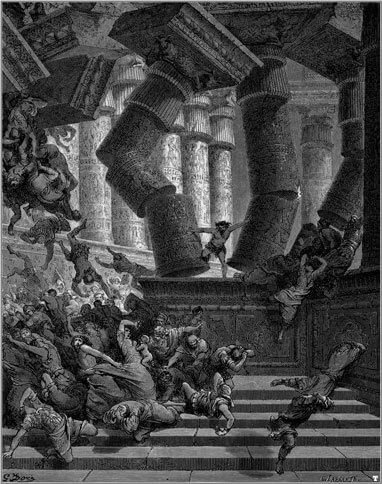 Samson destroying the Philistine temple in an image by Gustave Doré (1866)