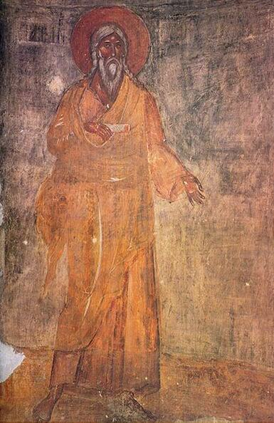 Depiction of the biblical Seth from a 14th-century fresco in Novgorod
