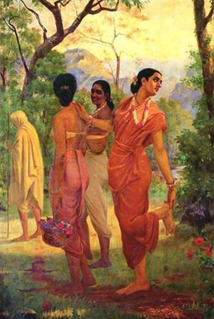 Shakuntala looking back to glimpse Dushyanta by Raja Ravi Varma (1898)