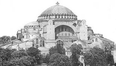 Altered image depicting how Hagia Sophia basilica may have looked before it became a mosque