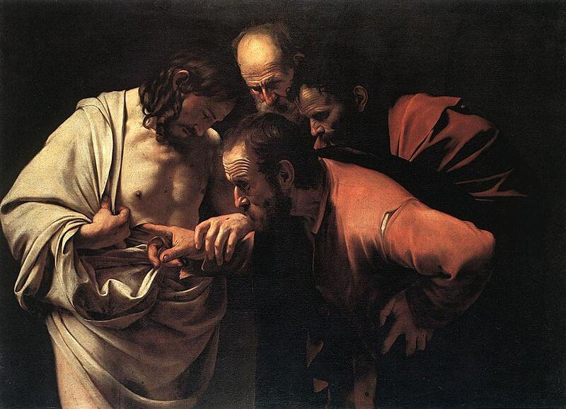Incredulity of Saint Thomas by Caravaggio (1602)