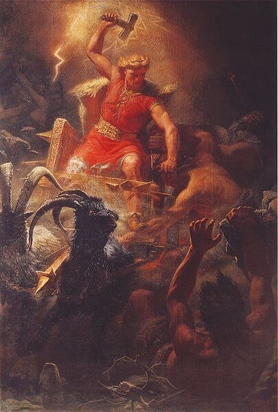 Thor's Battle with the Ettins by Mårten Eskil Winge (1872)