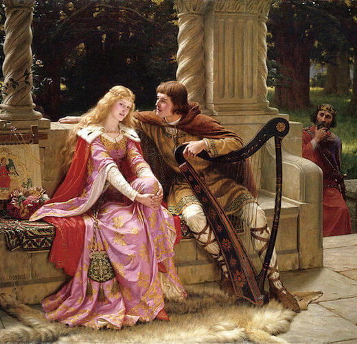 Tristan and Isolde in a painting by Edmund Leighton (1902)