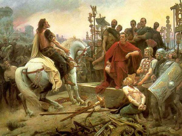 Vercingetorix throws down his arms at the feet of Julius Caesar by Lionel Royer (1899)