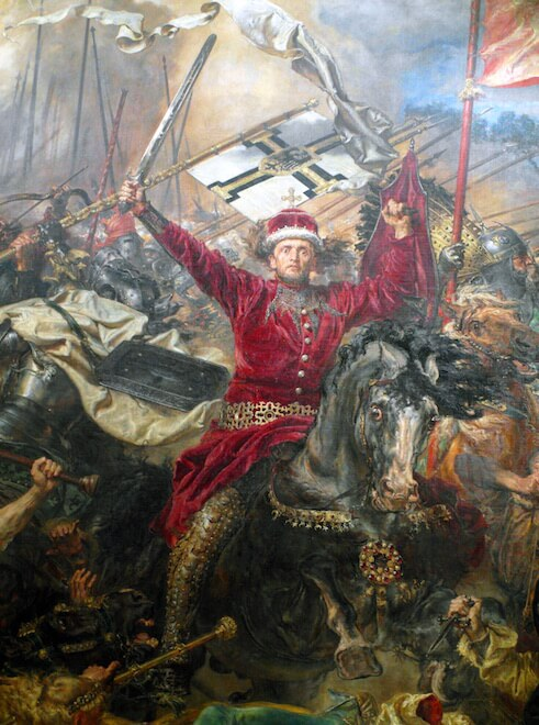 Detail showing Vytautas from The Battle of Grunwald by Jan Matejko (1878)