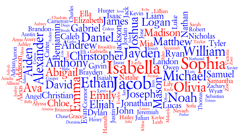 Tag cloud for the Most Popular Names for Births in the United States 2010