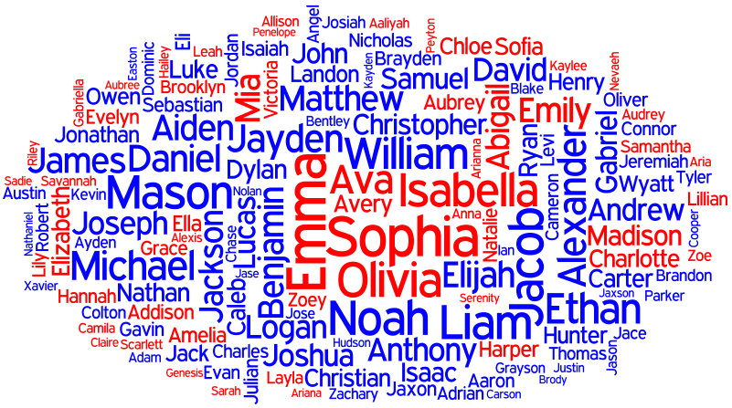 Behind the Name: Name Cloud for United States 2013